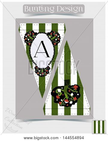 Bunting design - Tree from Wonderland Forest or Garden.  Printable Vector Illustration for Graphic Projects, Parties, Scrapbooking and the Internet.