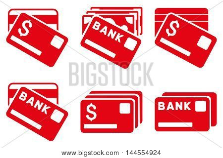 Banking Cards vector icons. Pictogram style is red flat icons with rounded angles on a white background.