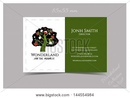 Business Card Template Size 85x55 - Tree from Wonderland Garden or Forest. Print Ready Vector Illustration for Graphic Projects, Real Life Parties and the Internet.