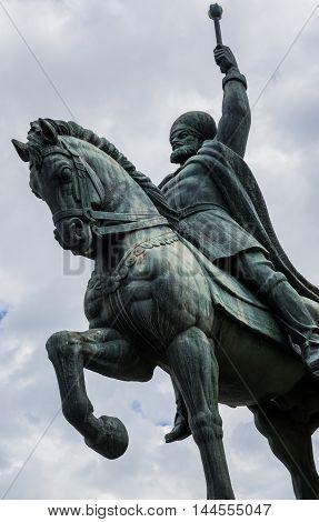 Statue of Michael the Brave in Citadel of Alba Iulia city in Romania