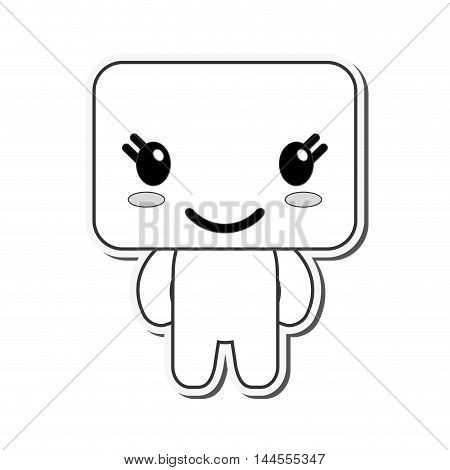 flat design kawaii doll happy facial expression icon vector illustration