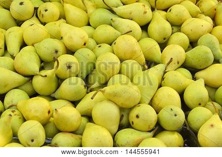 Background With Green Ripe Pears Closeup