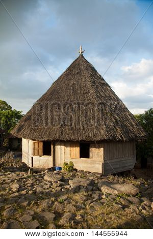 Ruteng Puu tradtional village, Manggarai district, Flores, Indonesia . Round traditional houses in the village Ruteng Puu, typical for the Manggarai district in Flores.