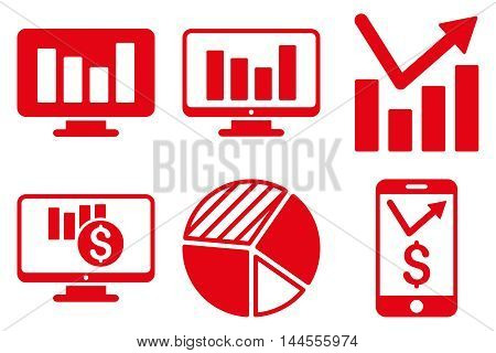Chart Monitoring vector icons. Pictogram style is red flat icons with rounded angles on a white background.