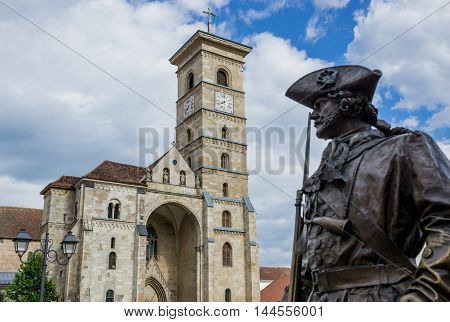 Bronze statue next to St. Michael's Cathedral in Citadel of Alba Iulia city in Romania