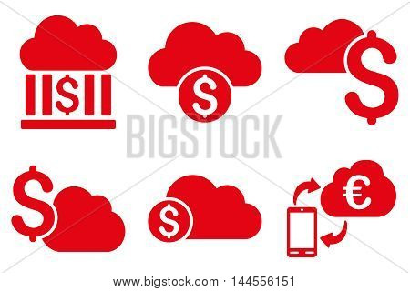 Cloud Banking vector icons. Pictogram style is red flat icons with rounded angles on a white background.