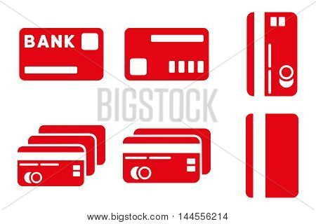 Credit Cards vector icons. Pictogram style is red flat icons with rounded angles on a white background.