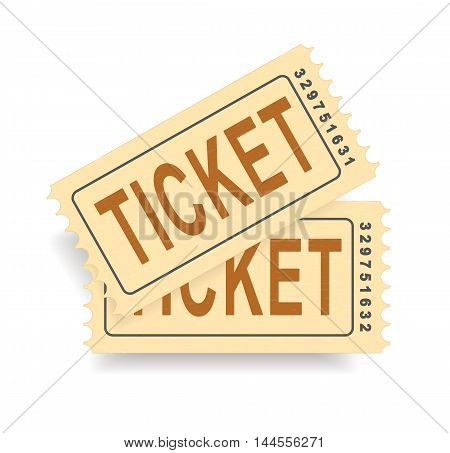 A pair of vintage tickets with a tear line. No transparency. Ticket isolated illustration. Vector illustration