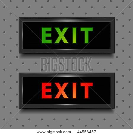 Exit sign in red and green. Isolated illustration. Vector. Grey seamless background included in EPS8