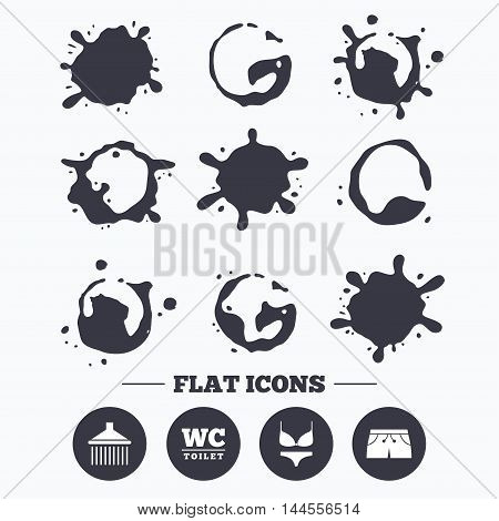Paint, coffee or milk splash blots. Swimming pool icons. Shower water drops and swimwear symbols. WC Toilet sign. Trunks and women underwear. Smudges splashes drops. Vector