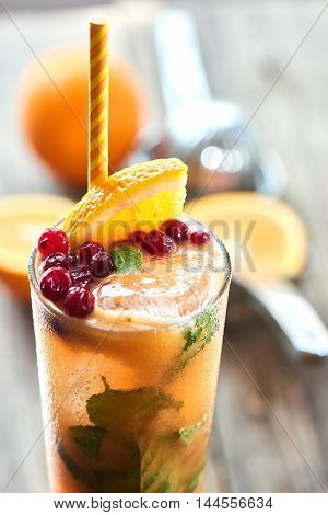 The glass of alcoholic cocktail sex on the beach homemade cranberry, mint, orange and peach juice on a wooden table closeup