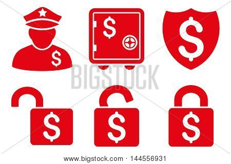 Financial Guard vector icons. Pictogram style is red flat icons with rounded angles on a white background.