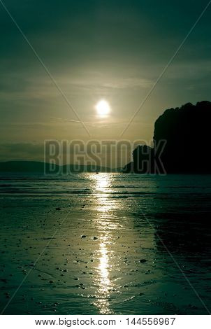 Beautiful view of a sunset in Railay Beach. THAILAND.