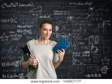 Beautiful student female  with sketch education background