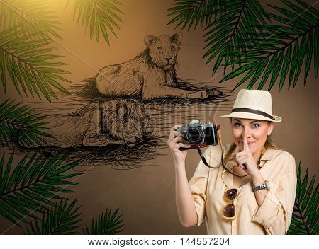 Safari tourist showing a sign of silence, over background draw lion sleeping