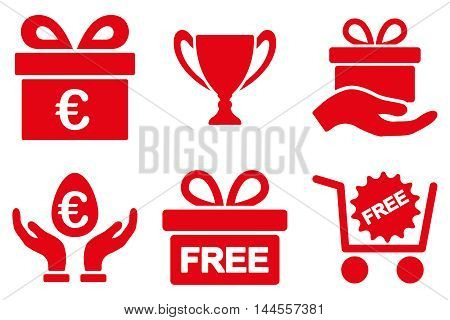 Gift vector icons. Pictogram style is red flat icons with rounded angles on a white background.