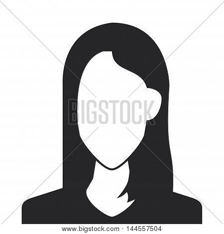 flat design faceless woman portrait icon vector illustration