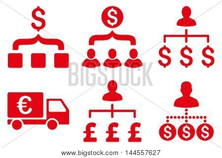 Payment Collector vector icons. Pictogram style is red flat icons with rounded angles on a white background.