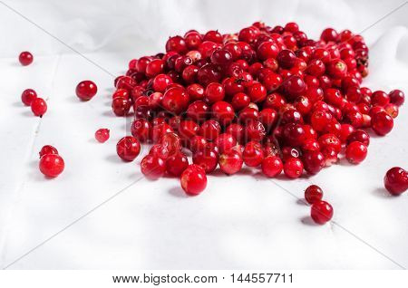 fresh cranberry cowberry on wooden background, selective focus.