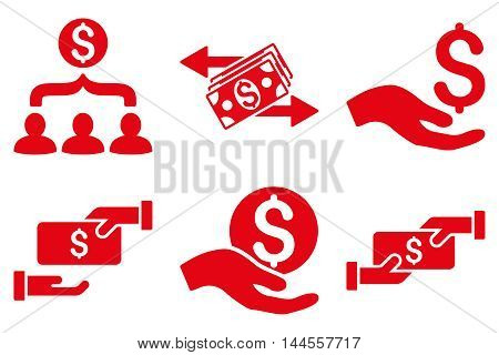 Payment vector icons. Pictogram style is red flat icons with rounded angles on a white background.