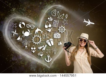 Happy tourist female with photo camera and illustrated holiday icon