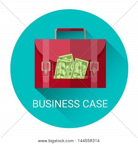 Marketing Business Money Case Economy Icon Flat Vector Illustration