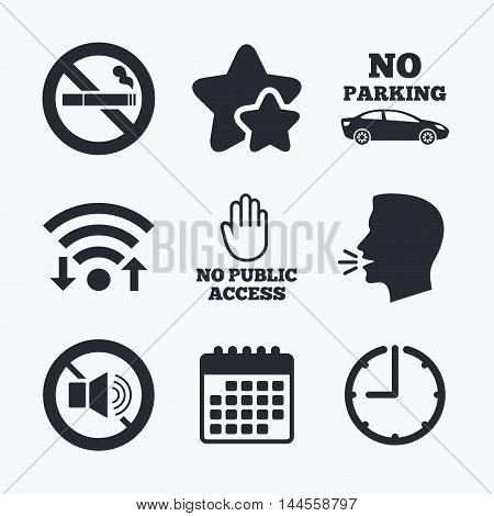 Stop smoking and no sound signs. Private territory parking or public access. Cigarette and hand symbol. Wifi internet, favorite stars, calendar and clock. Talking head. Vector