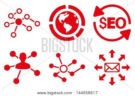Seo Link Building vector icons. Pictogram style is red flat icons with rounded angles on a white background.