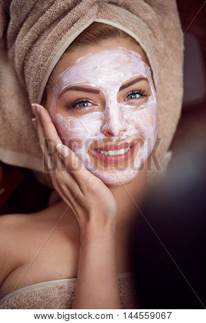 treatment facial skin in cosmetic salon, acne treatment