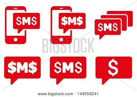 SMS Messages vector icons. Pictogram style is red flat icons with rounded angles on a white background.