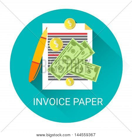 Invoice Financial Bill Paper Business Economy Icon Flat Vector Illustration