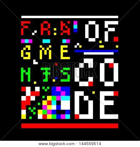Old computer bitmap pixel image. Inscription: Fragments of Code. Text is composed of old-looking broken and hacked letters. Contains elements of abstract pixel art. Vector image for t-shirt desigh