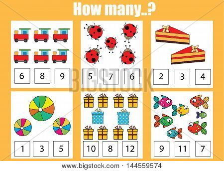 Counting educational children game kids activity sheet. How many objects task. Learning mathematics numbers addition theme