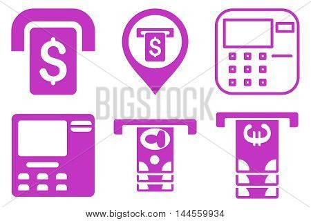 ATM Terminal vector icons. Pictogram style is violet flat icons with rounded angles on a white background.
