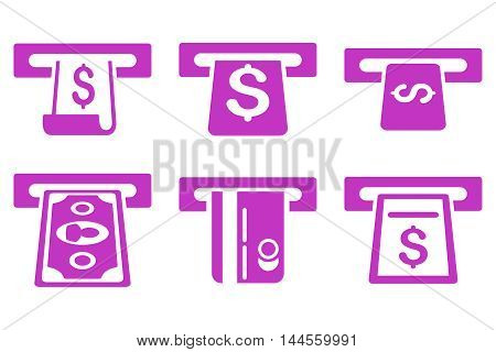 ATM Withdraw vector icons. Pictogram style is violet flat icons with rounded angles on a white background.