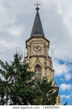 Bell tower of St. Michael's Church in Cluj-Napoca city in Romania