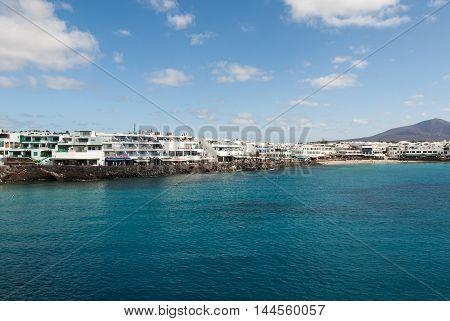 LANZAROTE, SPAIN - SEPTEMBER 9, 2015: Playa Blanca on Lanzarote. Canary Island .Spain