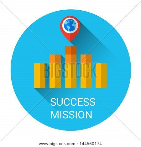 Business Graph Bar Success Growth Icon Flat Vector Illustration