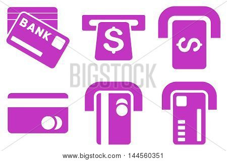 Bank ATM vector icons. Pictogram style is violet flat icons with rounded angles on a white background.