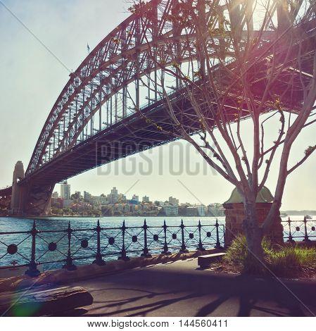 Sydney Harbour Bridge with retro filter effect. Sydney Australia