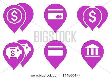 Bank Map Markers vector icons. Pictogram style is violet flat icons with rounded angles on a white background.