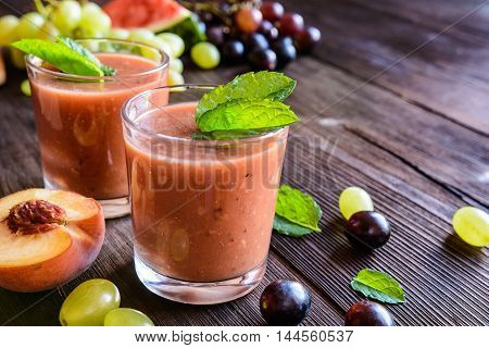 Refreshing Smoothie With Grape, Watermelon And Peach