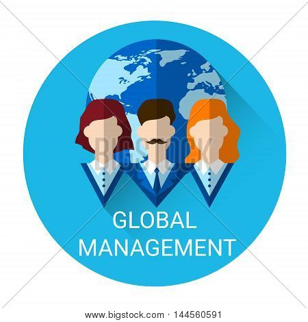 Global Management Business Outsource Employment Icon Flat Vector Illustration