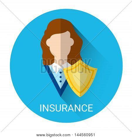Insurance Business Woman Shield Icon Flat Vector Illustration