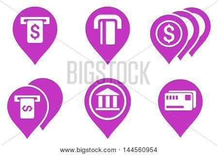 Banking ATM Pointers vector icons. Pictogram style is violet flat icons with rounded angles on a white background.