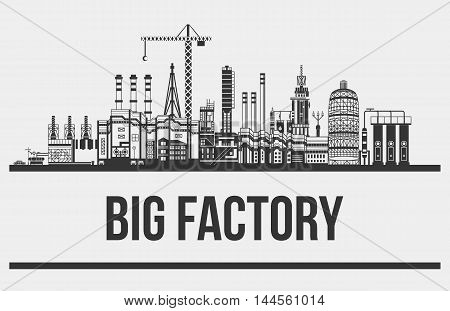 Silhouette of huge plant or factory, manufactory line. Contour of crane with hook and conveyors, cars and chimneys, pipelines. May be used for technology or industrial, refinery production theme