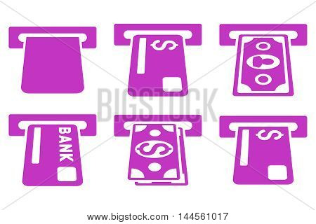 Banking ATM vector icons. Pictogram style is violet flat icons with rounded angles on a white background.