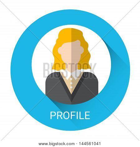 Business Woman Profile Icon Flat Vector Illustration