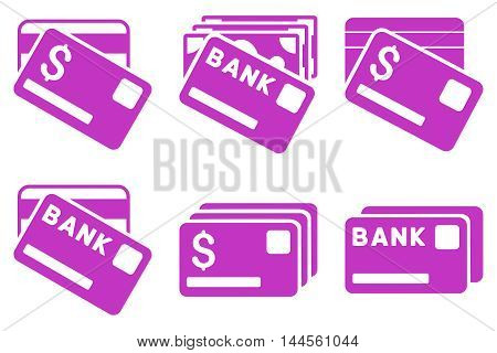 Banking Cards vector icons. Pictogram style is violet flat icons with rounded angles on a white background.