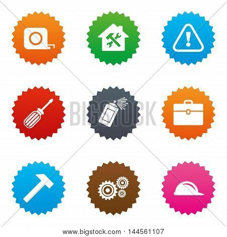 Repair, construction icons. Helmet, screwdriver and hammer signs. Gears, painting spray and attention symbols. Stars label button with flat icons. Vector